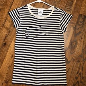 Lacoste black and white stripe tee size 38